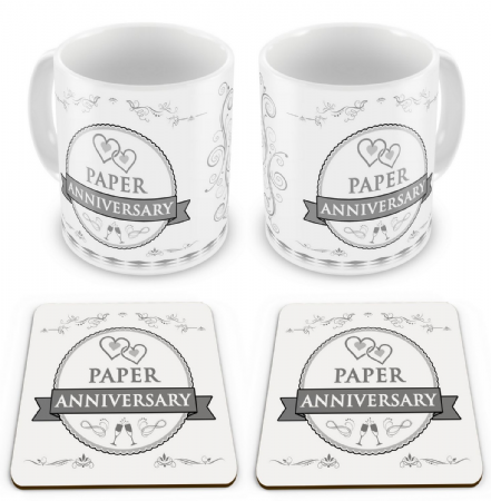 Set of Anniversary Novelty Gift Mugs with Coasters - Swirls / Rosette Design